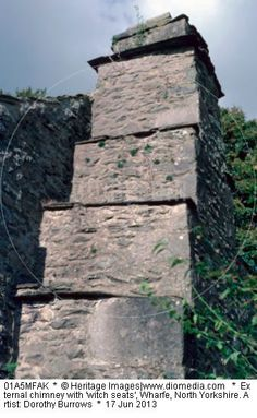 External chimney with 'witch seats', Wharfe, North Yorkshire. Artist: Dorothy Burrows. Ledges on the chimneys so the witches will sit outside and not come down the chimney. So interesting!