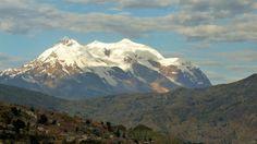 Triple-peaked Illimani mountain. A part of the Cordillera Real de los Andes--the mountain range surrounding La Paz, Bolivia.
