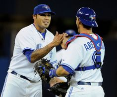 Sergio Santos and JP Arencibia Chicago Pd, Toronto Blue Jays, Blue Bird, Country Music, Soccer, Birds, Baseball Cards, History, People