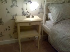 Bedside table - Annie Sloan Old Ochre with Old White mixed into clear wax to finish.