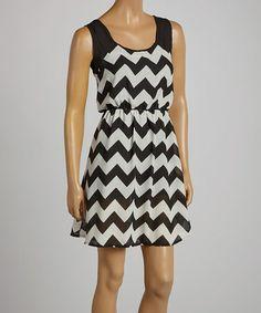 Another great find on #zulily! Black White Zigzag Sleeveless Dress #zulilyfinds
