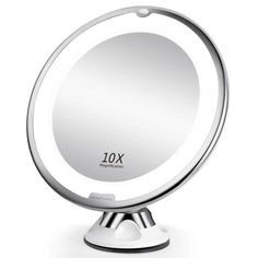 Magnifying Glass Makeup Mirror,AutumnFall Flexible Mirror Lighted 10X Magnifying Makeup Mirror Power Locking Suction Cup White