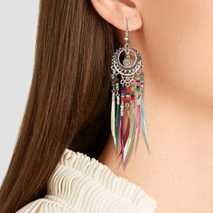 Buy Bohemian Ethnic Long Statement Colorful Tassel Drop Earrings Boho Resin Beads Fringe Earrings for Women Fashion Dangle Earring Long Tassel Earrings, Hanging Earrings, Fringe Earrings, Feather Earrings, Women's Earrings, Pendant Earrings, Style Boho, Boho Chic, Indian Earrings