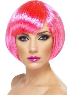 Neon Pink Bob Babe Wig  Code: WBANP  Neon pink short bob babe wig is perfect for fancy dress parties! £4.95