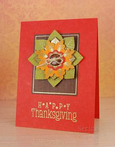 handmade Thanksgiving card by Nerina's Cards ... luv the rich Fall colors with gold embossed highlights ... beautiful card ... layered elements on a rectangular frame ...