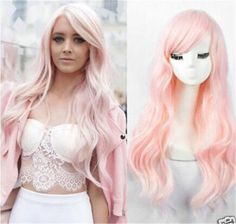 ATOZWIG Light Pink Long Kinky Curly Cosplay Women's Wigs Cheap Synthetic Hair Women Wig With Bangs
