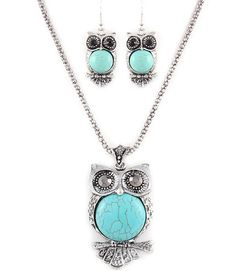 Hooters Vintage Turquoise Jewelry Set--I love owls and turquoise