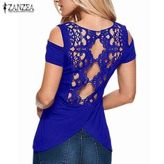 Retro Lace Short Sleeve Hollow Backless Off Shoulder Tee Tops. Gender: WomenDecoration: Hollow OutClothing Length: RegularSleeve Style: RegularPattern Type: SolidStyle: CasualBrand Name: ZANZEAFabric Type: BroadclothMaterial: Cotton,PolyesterCollar: O-NeckSleeve Length: ShortModel Number: SKU399937