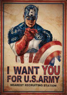 Captain America Want U by aRmydesigner on DeviantArt Captain America Pictures, Captain America Poster, Marvel Captain America, Hq Marvel, Marvel Comics Art, Marvel Heroes, Comic Books Art, Comic Art, Capitan America Marvel