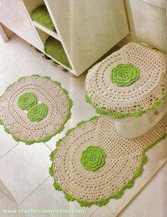CROCHE COM RECEITA: Tapetes para banheiro com flores em crochê