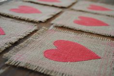 Items similar to Lovely Cocktail Napkins/Coasters on Etsy Tapetes Diy, Valentine Crafts, Valentines, Crafts To Do, Diy Crafts, Creation Deco, Jute Bags, Cocktail Napkins, Home Deco
