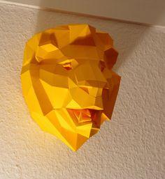 DIY papercraft template Lion Trophy head no. 4 por PaperwolfsShop