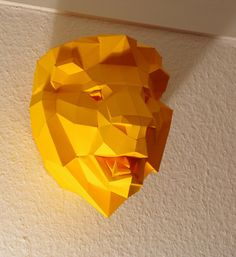 DIY papercraft template Lion Trophy head no. 4 by PaperwolfsShop