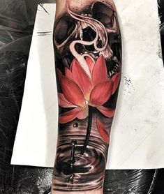 The lotus tattoo represents purification and faithfulness. In Buddhism, lotus flower is one of Buddhist relics often appears with Buddha statues. Lotus Tattoo Design, Tattoo Designs, Tattoo Ideas, Lotus Tattoo Sleeves, Full Sleeve Tattoos, Arrow Tattoos, Hand Tattoos, Tatoos, Buddhist Symbol Tattoos