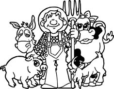farm animal coloring pages free for toddlersle kids Chicken Coloring Pages, Family Coloring Pages, Farm Animal Coloring Pages, Fish Coloring Page, Truck Coloring Pages, Pokemon Coloring Pages, Adult Coloring Book Pages, Printable Coloring Pages, Coloring Books