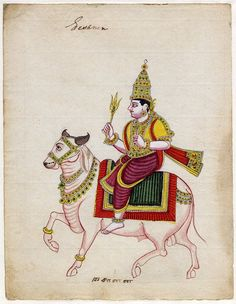Gouache painting on paper (watermarked 1814) from a set of twelve paintings of deities. The deity Isana, crowned and riding a white bull, painting; 1814; Thanjavur; Tamil Nadu