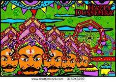 easy to edit vector illustration of Ravana monster for Dussehra in Indian art style background