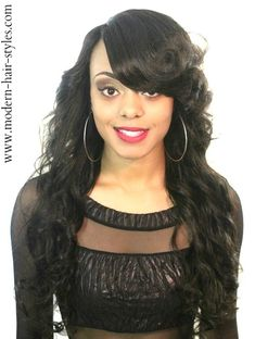 Brazillian Wavy Weave With China Bangs Google Search Sew In Hairstyles Pinterest And