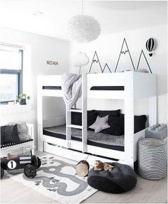 Black white and grey kids room