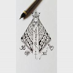 Desenho da nossa Senhora. Foi usado uma ornamentação maori e elementos nos quais lhe define. #bomdia #tattoo #tatuagem #tattoo2me #inspirationtatto #drawing #desenhos #desenhosparatattoo #inspirationtatto