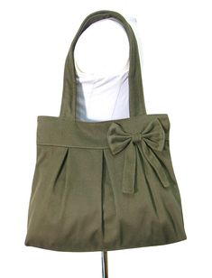 olive cotton fabric purse with bow / canvas tote bag by Markfabric, $26.00