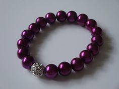 Purple Pearl & Rhinestone Bracelet by traceysjewellery on Etsy, Handmade Jewellery, Beaded Bracelets, Pearls, Purple, Etsy, Jewelry, Fashion, Moda, Handmade Jewelry