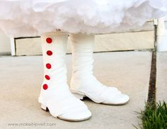 Accessories for Mary Poppins costume tutorial! With kids spats, and a tutorial for recovering an umbrella into a parasol! Easily converted to a little girls Steampunk outfit accessories....