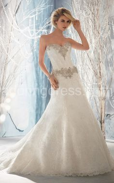 A Line Alencon Lace Gown Has Beaded Adornments at Strapless Bustline and Hipline 700685