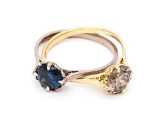 Double Victorian Solitaire ring by Julia deVille  (18ct white gold, 18ct yellow, champagne diamond, sapphire)