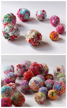 DIY Thread Wrapped Fabric Beads Tutorial.This is such a good fabric stash buster project. All you need to make these DIY Thread Wrapped Fabric Beads are fabric and thread.Make the balls into beads, button, pins, art etc…This Tutorial can be found at Journey into Creativity here.