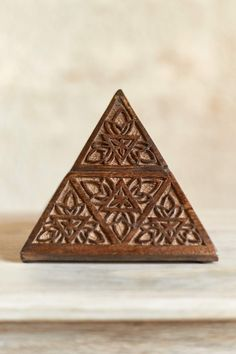 Carved Pyramid Wood Box