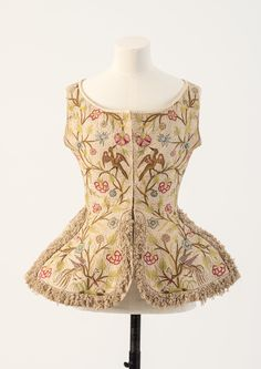 OBJECT 6 - Green and pinks linen embroidered woman's waistcoat, 1700s Fashion Museum Bath