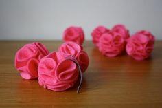 pink pom pom flower Christmas ornaments
