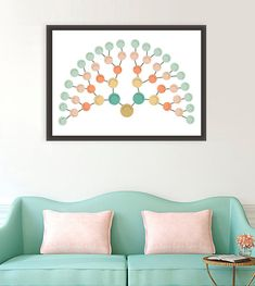 Modern Family tree Art, modern genealogy, Fan Chart Family Tree