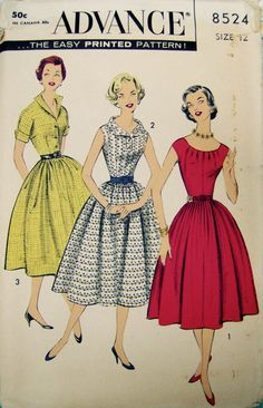 Advance 8524 Easy Sewing Pattern Ladies by TheBerryBobbin Easy Sewing Patterns, Vintage Sewing Patterns, Vintage Dresses 50s, Vintage Outfits, 1950s Fashion, Vintage Fashion, Shirtwaist Dress, Miss Dress, Collar Dress