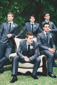 Cool groomsmen in grey suits | A Dreamy Pastel Wedding in Perth: Sam and Emma
