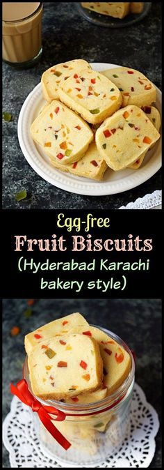 Step by step pictorial recipe to make tender and crumbly, melt in the mouth, egg-free fruit biscuits, Hyderabad Karachi bakery style. Fruit Recipes, Indian Food Recipes, Baking Recipes, Cookie Recipes, Dessert Recipes, Fruit Snacks, Drink Recipes, Egg Desserts, Recipies