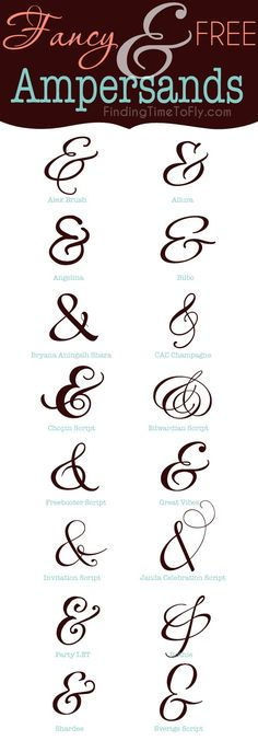 Fancy and Free Ampersands Ampersand Font, Calligraphy Letters, Typography Fonts, Fancy Lettering Fonts, Lettering Ideas, Creative Fonts, Cool Fonts, Fun Fonts, Edwardian Script