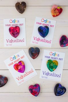 Heart Shaped Crayons Valentines instructions with printable template
