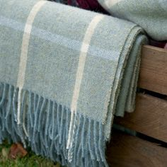 Large Duck Egg Ivory/Check Shetland Wool Throw - Susie Watson Designs