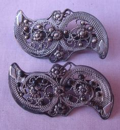 2 ANTIQUE VICTORIAN DRESS SHOE HAT BELT  SEW-ON SLIDE ORNAMENTS WIRE and STEELS