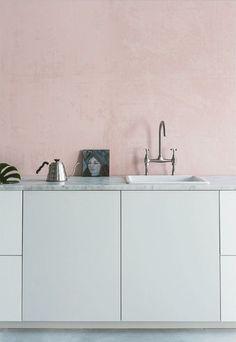 pink white marble kitchen
