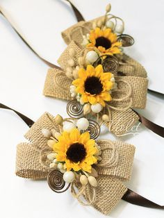 Rustic Sunflower Wedding Corsages Set of 3, Handmade Bridesmaids Sunflower Burlap Bracelets, Sunflower Brown Wedding Bridal Girl Accessories