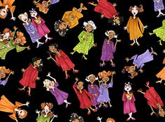 Quilting Treasures Church Ladies by Loralie 23754 J Black Sing It Sister $9.60/yd