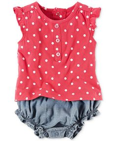 Carter's Layered-Look Dots & Chambray Romper, Baby Girls (0-24 months) | macys.com