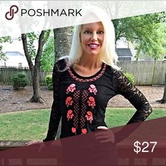 Black lace embroidered top! Adorable too! With intricate embroidered detail and keyhole back closure- Tops