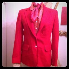 Vintage Evan-Picone Red Wool Jacket w/Original Tag Amazing Vintage Evan-Picone Red Wool Jacket w/Original Bullocks Wilshire Tag!  A rare and wonderful piece from the iconic Bullocks store - still has the original tags from the 1970's! Beautiful red blazer w/an amazing fit and 4 mother of pearl buttons on sleeves. Size 10 but fits more like an 8.  This looks so amazing with EVERYTHING!! Wear it with a white tee and white skinny jeans or over an amazing silk floral dress or roll the sleeves up…