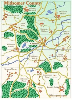 Midsomer map. I love Midsomer Murders but I'd hate to visit Midsomer - that county has an extraordinarily high body count!! :D
