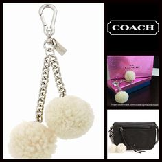 """COACH Genuine Pom Pom Handbag Shearling Charm  NEW WITH TAGS   COACH Genuine Pom Pom Handbag Shearling Charm Key Chain Retail Price: $65 ***Original box, packaging & retail tag included for gift giving   * Super genuine shearling fabric   * Silver-tone hardware & chains w/signature Coach logo tag     * About 7"""" long.   Fabric: Genuine shearling & silver-tone coated metal.   Color: Ivory    Item:  No Trades ✅Offers Considered*✅  *Please use the blue 'offer' button to submit an offer. Coach…"""