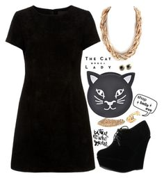 """""""Lucky Black Cat"""" by bellaeve ❤ liked on Polyvore featuring Sessions, Forever Link, blackandgold, polyvoreeditorial, shopbellaeve and BellaEveBoutique"""